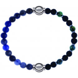 Apollon - Collection MiX - bracelet combinable sodalite 6mm - 10,25cm + agate teintée verte - pierre de lave 6mm - 10,75cm