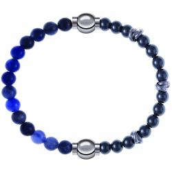 Apollon - Collection MiX - bracelet combinable sodalite 6mm - 10,25cm + hématite 6mm - 10cm