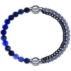 Apollon - Collection MiX - bracelet combinable sodalite 6mm - 10,25cm + chaines 2 tons noir et blancs - 10,25cm