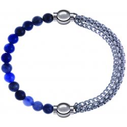 Apollon - Collection MiX - bracelet combinable sodalite 6mm - 10,25cm + chaines - 10,25cm