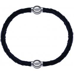 Apollon - Collection MiX - bracelet combinable cuir tressé italien noir - 10,5cm + cuir tressé italien noir - 10,5cm