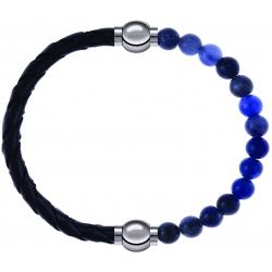 Apollon - Collection MiX - bracelet combinable cuir tressé italien noir - 10,5cm + sodalite 6mm - 10,25cm
