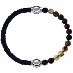 Apollon - Collection MiX - bracelet combinable cuir tressé italien noir - 10,5cm + agate marron 6mm - 10,25cm