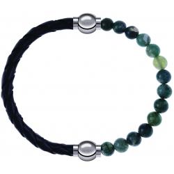 Apollon - Collection MiX - bracelet combinable cuir tressé italien noir - 10,5cm + agate verte mousse 6mm - 10,25cm