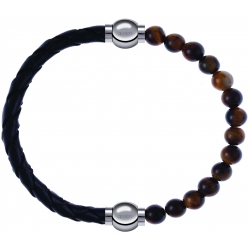 Apollon - Collection MiX - bracelet combinable cuir tressé italien noir - 10,5cm + oeil de tigre 6mm - 10,25cm