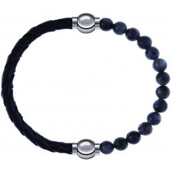 Apollon - Collection MiX - bracelet combinable cuir tressé italien noir - 10,5cm + labradorite 6mm - 10,25cm