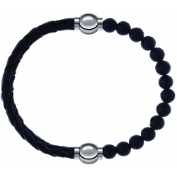 Apollon - Collection MiX - bracelet combinable cuir tressé italien noir - 10,5cm + pierre de lave 6mm - 10,25cm