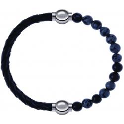 Apollon - Collection MiX - bracelet combinable cuir tressé italien noir - 10,5cm + obsidienne neige 6mm - 10,25cm