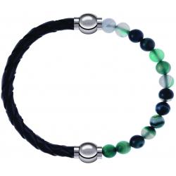 Apollon - Collection MiX - bracelet combinable cuir tressé italien noir - 10,5cm + agate indienne teintée 6mm - 10,25cm