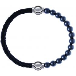 Apollon - Collection MiX - bracelet combinable cuir tressé italien noir - 10,5cm + hématite 6mm - 10,25cm