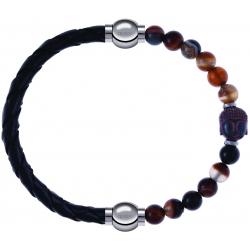 Apollon - Collection MiX - bracelet combinable cuir tressé italien noir - 10,5cm + agate marron 6mm - Bouddha - 10cm
