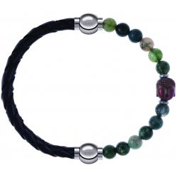 Apollon - Collection MiX - bracelet combinable cuir tressé italien noir - 10,5cm + agate verte 6mm - Bouddha - 10cm