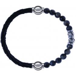 Apollon - Collection MiX - bracelet combinable cuir tressé italien noir - 10,5cm + sodalite 6mm - 10cm