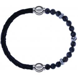 Apollon - Collection MiX - bracelet combinable cuir tressé italien noir - 10,5cm + labradorite 6mm - 10cm