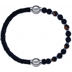 Apollon - Collection MiX - bracelet combinable cuir tressé italien noir - 10,5cm + oeil de tigre - pierre de lave 6mm - 10,75cm