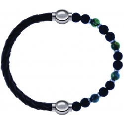 Apollon - Collection MiX - bracelet combinable cuir tressé italien noir-10,5cm + agate teintée verte-pierre de lave 6mm-10,75cm
