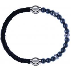 Apollon - Collection MiX - bracelet combinable cuir tressé italien noir - 10,5cm + hématite 6mm - 10cm