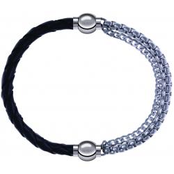 Apollon - Collection MiX - bracelet combinable cuir tressé italien noir - 10,5cm + chaines - 10,25cm