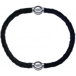 Apollon - Collection MiX - bracelet combinable cuir tressé italien vert - 10,5cm + cuir tressé italien noir - 10,5cm