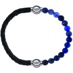 Apollon - Collection MiX - bracelet combinable cuir tressé italien vert - 10,5cm + sodalite 6mm - 10,25cm