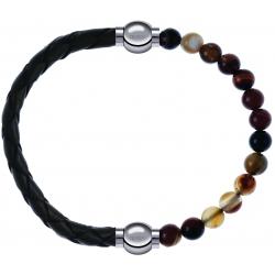 Apollon - Collection MiX - bracelet combinable cuir tressé italien vert - 10,5cm + agate marron 6mm - 10,25cm