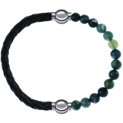 Apollon - Collection MiX - bracelet combinable cuir tressé italien vert - 10,5cm + agate verte mousse 6mm - 10,25cm