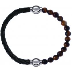 Apollon - Collection MiX - bracelet combinable cuir tressé italien vert - 10,5cm + oeil de tigre 6mm - 10,25cm