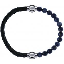 Apollon - Collection MiX - bracelet combinable cuir tressé italien vert - 10,5cm + labradorite 6mm - 10,25cm