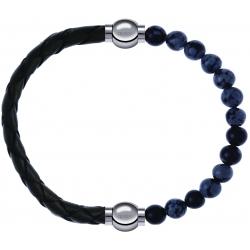Apollon - Collection MiX - bracelet combinable cuir tressé italien vert - 10,5cm + obsidienne neige 6mm - 10,25cm