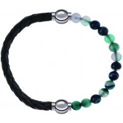 Apollon - Collection MiX - bracelet combinable cuir tressé italien vert - 10,5cm + agate indienne teintée 6mm - 10,25cm