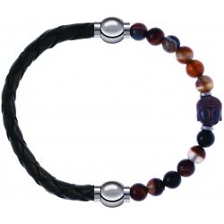 Apollon - Collection MiX - bracelet combinable cuir tressé italien vert - 10,5cm + agate marron 6mm - Bouddha - 10cm