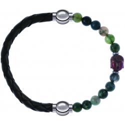 Apollon - Collection MiX - bracelet combinable cuir tressé italien vert - 10,5cm + agate verte 6mm - Bouddha - 10cm