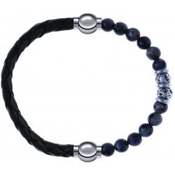 Apollon - Collection MiX - bracelet combinable cuir tressé italien vert - 10,5cm + sodalite 6mm - 10cm