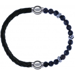 Apollon - Collection MiX - bracelet combinable cuir tressé italien vert - 10,5cm + labradorite 6mm - 10cm