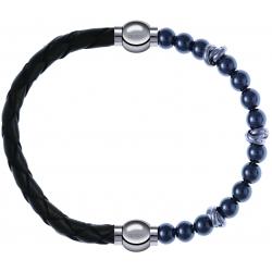 Apollon - Collection MiX - bracelet combinable cuir tressé italien vert - 10,5cm + hématite 6mm - 10cm