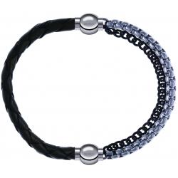 Apollon - Collection MiX - bracelet combinable cuir tressé italien vert - 10,5cm + chaines 2 tons noir et blancs - 10,25cm