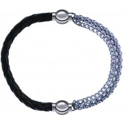 Apollon - Collection MiX - bracelet combinable cuir tressé italien vert - 10,5cm + chaines - 10,25cm