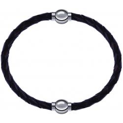 Apollon - Collection MiX - bracelet combinable cuir tressé italien marron - 10,5cm + cuir tressé italien marron - 10,5cm
