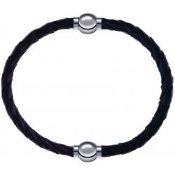 Apollon - Collection MiX - bracelet combinable cuir tressé italien marron - 10,5cm + cuir tressé italien noir - 10,5cm