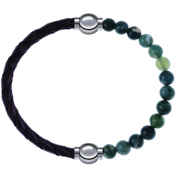 Apollon - Collection MiX - bracelet combinable cuir tressé italien marron - 10,5cm + agate verte mousse 6mm - 10,25cm