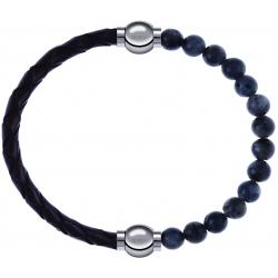 Apollon - Collection MiX - bracelet combinable cuir tressé italien marron - 10,5cm + labradorite 6mm - 10,25cm
