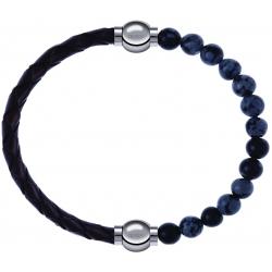 Apollon - Collection MiX - bracelet combinable cuir tressé italien marron - 10,5cm + obsidienne neige 6mm - 10,25cm