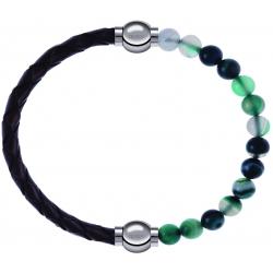 Apollon - Collection MiX - bracelet combinable cuir tressé italien marron - 10,5cm + agate indienne teintée 6mm - 10,25cm