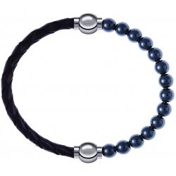 Apollon - Collection MiX - bracelet combinable cuir tressé italien marron - 10,5cm + hématite 6mm - 10,25cm