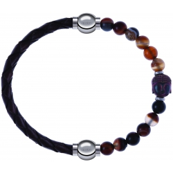 Apollon - Collection MiX - bracelet combinable cuir tressé italien marron - 10,5cm + agate marron 6mm - Bouddha - 10cm
