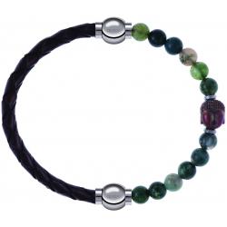 Apollon - Collection MiX - bracelet combinable cuir tressé italien marron - 10,5cm + agate verte 6mm - Bouddha - 10cm