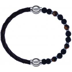 Apollon - Collection MiX - bracelet combinable cuir tressé italien marron - 10,5cm +oeil de tigre - pierre de lave 6mm - 10,75cm