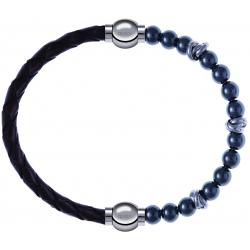 Apollon - Collection MiX - bracelet combinable cuir tressé italien marron - 10,5cm + hématite 6mm - 10cm