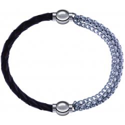 Apollon - Collection MiX - bracelet combinable cuir tressé italien marron - 10,5cm + chaines - 10,25cm