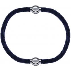Apollon - Collection MiX - bracelet combinable cuir tressé italien gris - 10,5cm + cuir tressé italien gris - 10,5cm